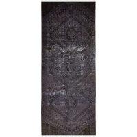خرید                     فرش دستبافت رنگ شده کناره طول سه متر طرح وینتج کد 13945