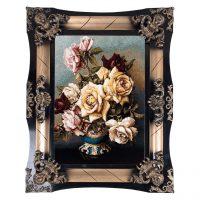 خرید                     تابلو فرش ماشینی دنیای فرش طرح گل های رز کد 117