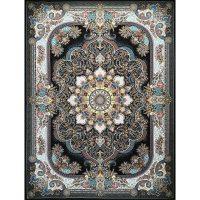 خرید                     فرش ماشینی طرح نسترن کد fm 4 زمینه سرمه ای