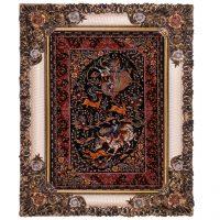خرید                     تابلو فرش ماشینی دنیای فرش طرح شکارگاه دستباف قم کد301