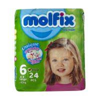 خرید                     پوشک کودک مولفیکس سایز 6 بسته 24 عددی