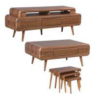 خرید                     میز تلویزیون مدل رنزو به همراه میز پذیرایی مجموعه 5عددی