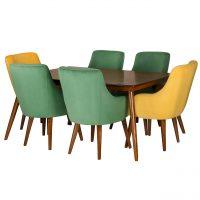 خرید                     میز و صندلی ناهار خوری چشمه نور کد MA-6043.BR-GR-YL