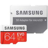خرید                     کارت حافظه microSDXC سامسونگ مدل Evo Plus کلاس 10 استاندارد UHS-I U3 سرعت 100MBps همراه با آداپتور SD ظرفیت 64 گیگابایت