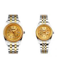 خرید                                     ست ساعت مچی عقربه ای زنانه و مردانه اسکمی مدل 9098 کد 01