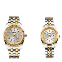 خرید                                     ست ساعت مچی عقربه ای زنانه و مردانه  اسکمی مدل 9098 کد 02