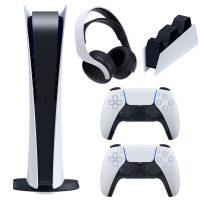 خرید                                     مجموعه کنسول بازی سونی مدل PlayStation 5 Digital ظرفیت 825 گیگابایت به همراه هدست و پایه شارژر