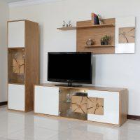 خرید                                     میز تلویزیون صنایع چوبی آذرباد مدل نهال کد A300 به همراه شلف دیواری و ویترین