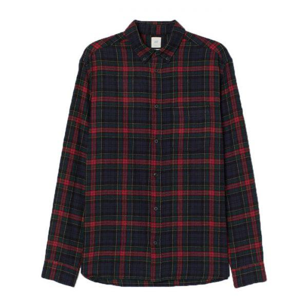 خرید                                     پیراهن آستین بلند مردانه اچ اند ام مدل rg0001
