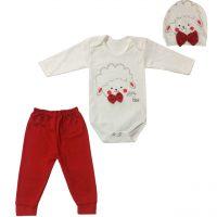 خرید                                     ست 3 تکه لباس نوزادی طرح بره مدل PK-H252