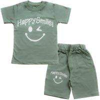 خرید                                     ست تیشرت و شلوارک پسرانه طرح happy smile کد 4