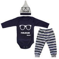 خرید                                     ست 3 تکه لباس نوزاد طرح عینک کد 01