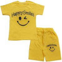 خرید                                     ست تیشرت و شلوارک پسرانه طرح happy smile کد 11