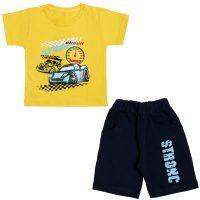 خرید                                     ست تی شرت و شلوارک پسرانه مدل ماشین رالی کد 120 رنگ زرد