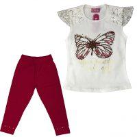 خرید                                     ست تی شرت و شلوارک دخترانه طرح پروانه مدل A&S7173