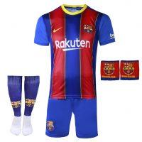 خرید                                     ست 4 تکه لباس ورزشی پسرانه طرح بارسلونا مدل مسی 2021                     غیر اصل
